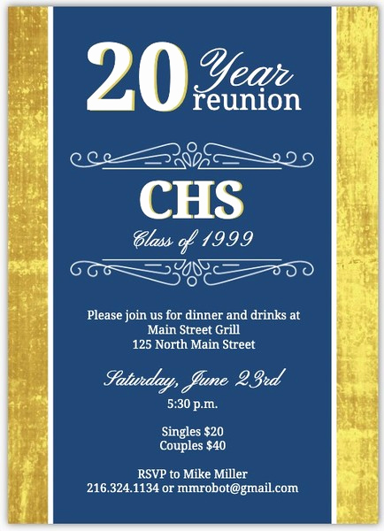 10 Year Reunion Invitation Best Of Classic Colors 20 Year Class Reunion Invitation