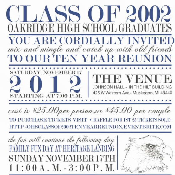 10 Year Reunion Invitation Best Of Ohs Class Of 2002 Ten Year Reunion Line Invitations