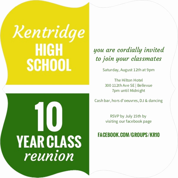 10 Year Reunion Invitation Elegant Color Blocks 10 Year Class Reunion Invitation Invite Shop