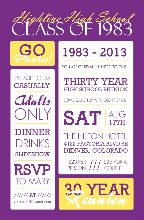 10 Year Reunion Invitation Elegant Poster Style Purple and Yellow Class Reunion Invitation