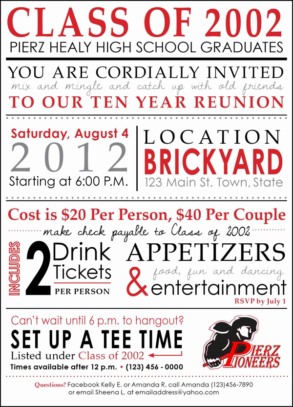 10 Year Reunion Invitation Fresh 64 Best Images About High School Reunion Invites On