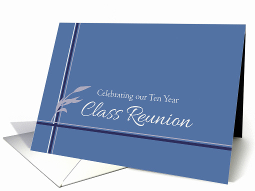 10 Year Reunion Invitation Inspirational Ten Year Class Reunion Invitation Blue Stripes Leaves Card