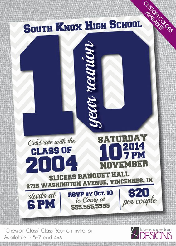 10 Year Reunion Invitation Luxury Class Reunion Invitation Chevron School Colors