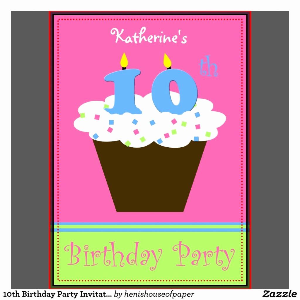 10th Birthday Invitation Wording Beautiful 10th Birthday Invitations