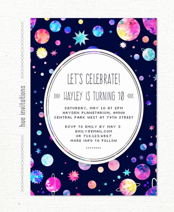 10th Birthday Invitation Wording Best Of Girls 10th Birthday Party Invitation Space themed Birthday
