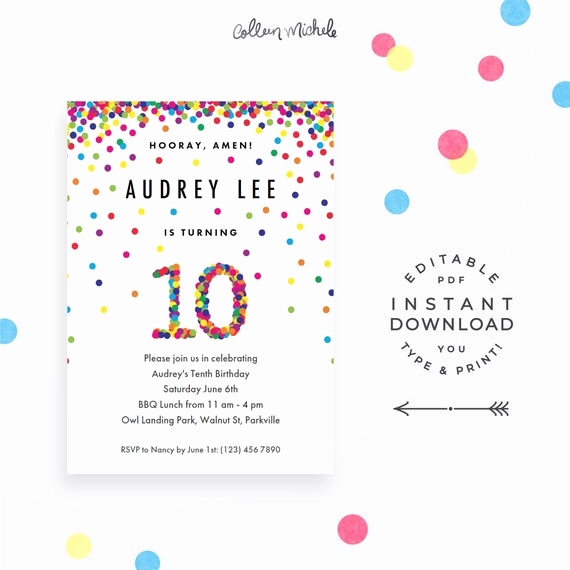10th Birthday Invitation Wording Best Of Rainbow 10th Birthday Party Invitation
