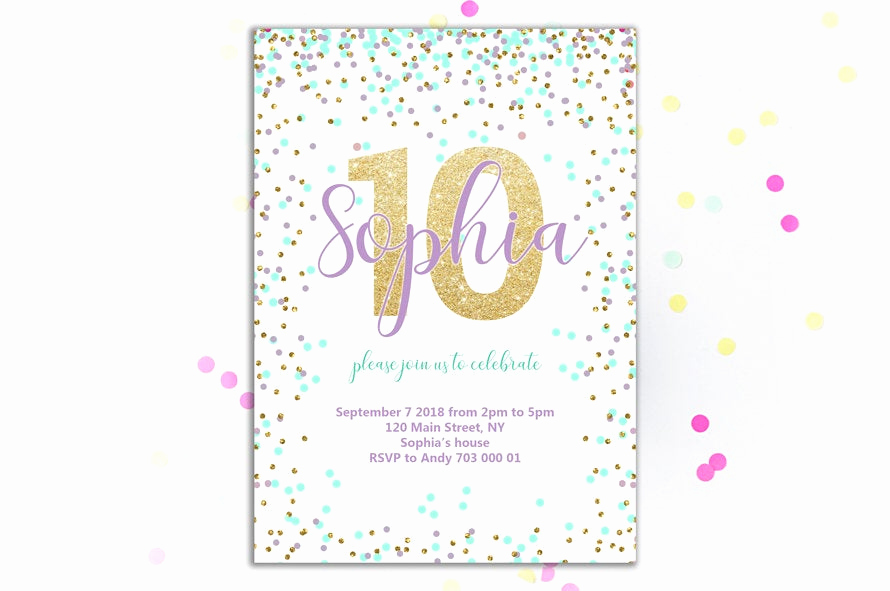 10th Birthday Invitation Wording Elegant 10th Birthday Invitation Girl Birthday Invitations