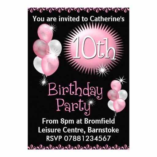 "10th Birthday Invitation Wording Elegant 10th Birthday Party Invitation 5"" X 7"" Invitation Card"
