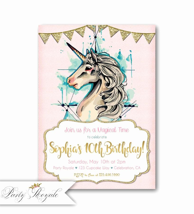 10th Birthday Invitation Wording Fresh 10th Birthday Invitations Girl Unicorn 10th Birthday Party