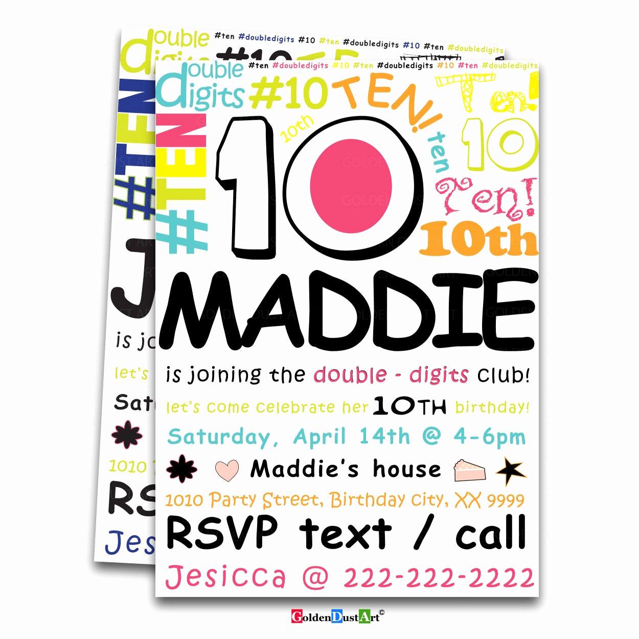 10th Birthday Invitation Wording Fresh Double Digits Birthday Party Invitation 10th Birthday