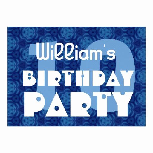 10th Birthday Invitation Wording Fresh Modern 10th Birthday Party Blue Pattern for Boy Custom