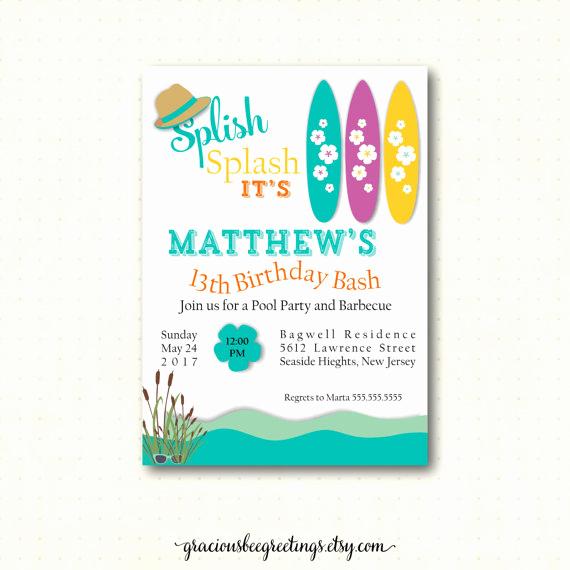 10th Birthday Invitation Wording Fresh Teen Pool Birthday Party Invitation 10th 11th 12th 13th