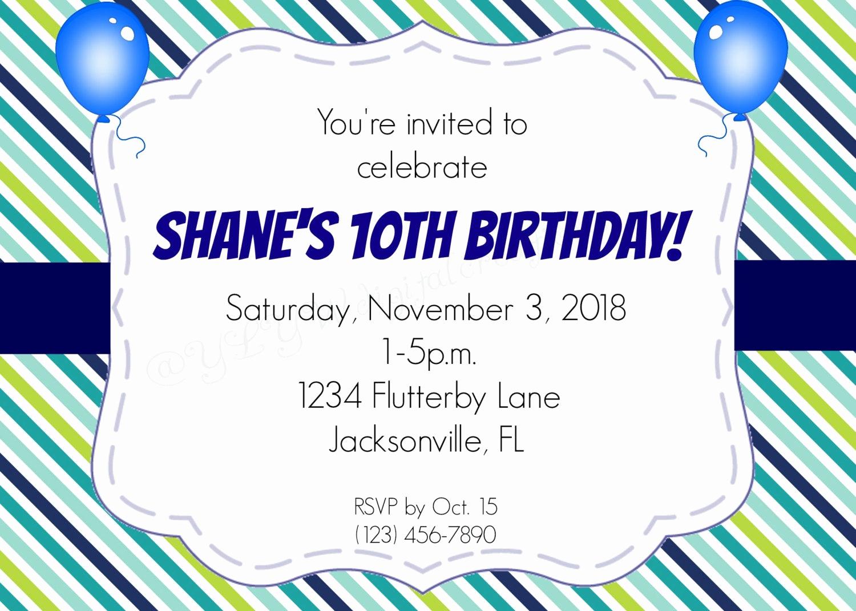 10th Birthday Invitation Wording Inspirational 10th Birthday Invitation Balloon Birthday by