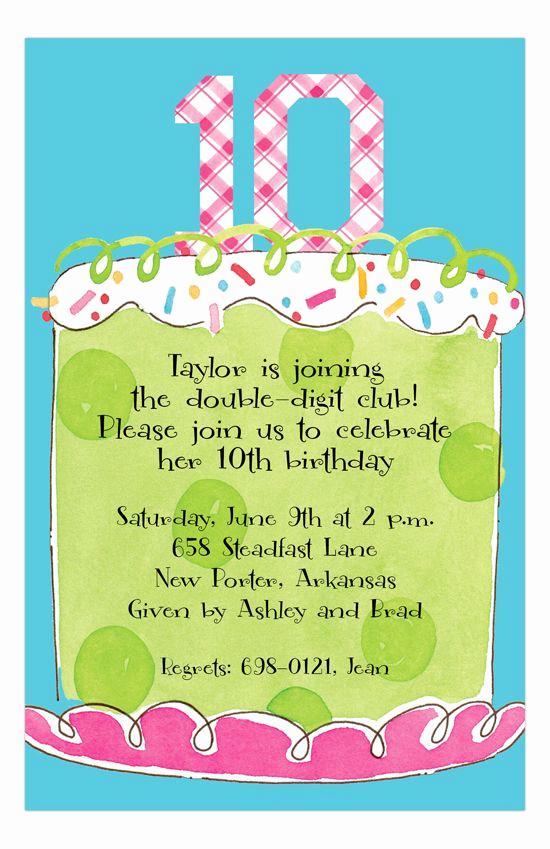 10th Birthday Invitation Wording Inspirational Girl Tenth Birthday Invitation