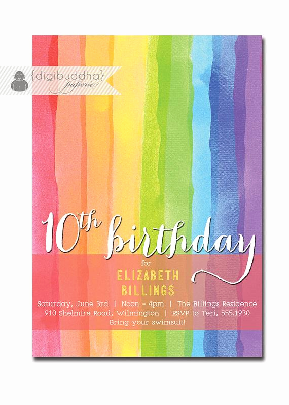 10th Birthday Invitation Wording Inspirational Rainbow Birthday Invitation 10th 9th 8th Milestone Party