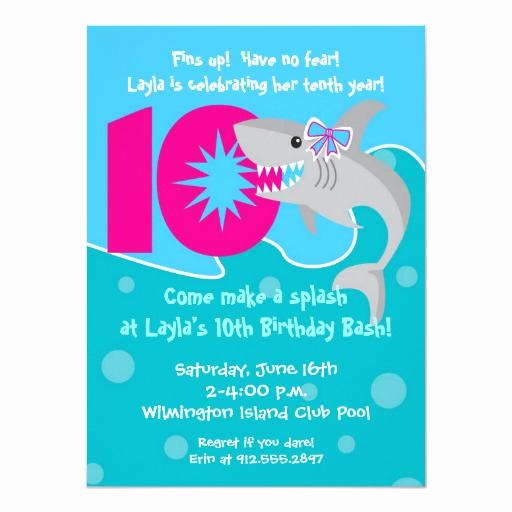 10th Birthday Invitation Wording Luxury Girl Shark Bite Invite 10th Birthday Party Card