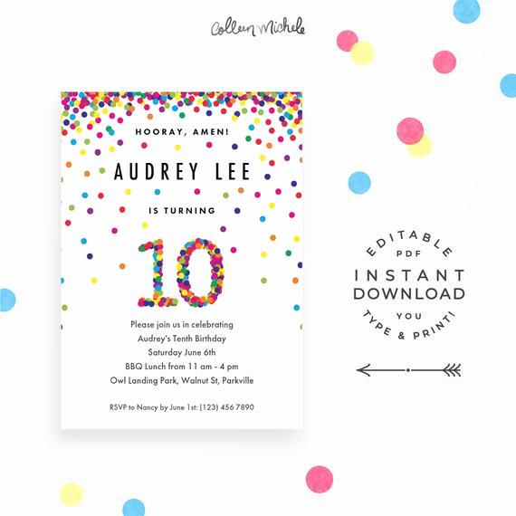 10th Birthday Invitation Wording Luxury Rainbow 10th Birthday Party Invitation