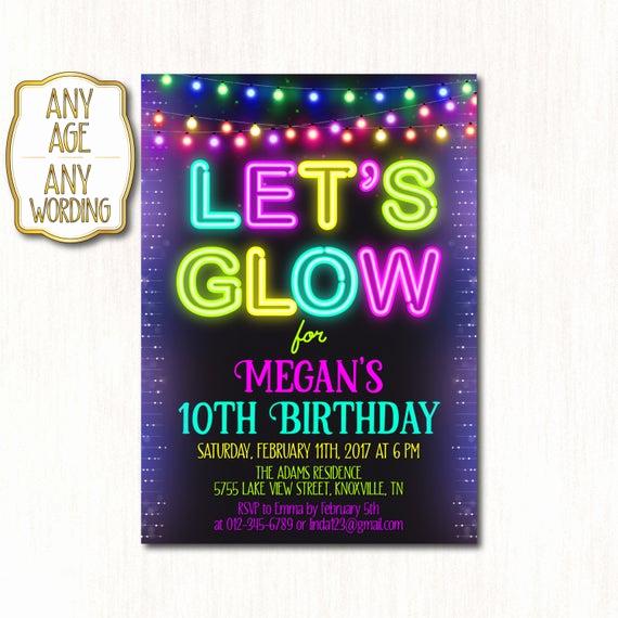 10th Birthday Invitation Wording New 10th Birthday Invitation Neon Birthday Party Neon Tenth