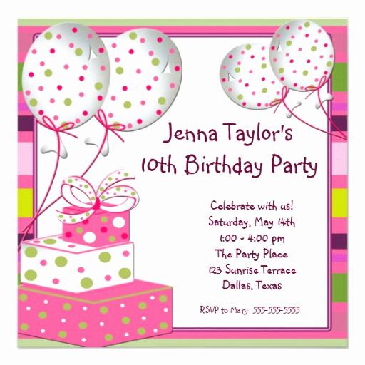 10th Birthday Invitation Wording Unique Pink Balloons Presents Girls Birthday Party 5 25x5 25