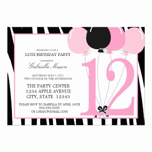 11th Birthday Invitation Wording Beautiful 5x7 12th Birthday Party Invite Zazzle