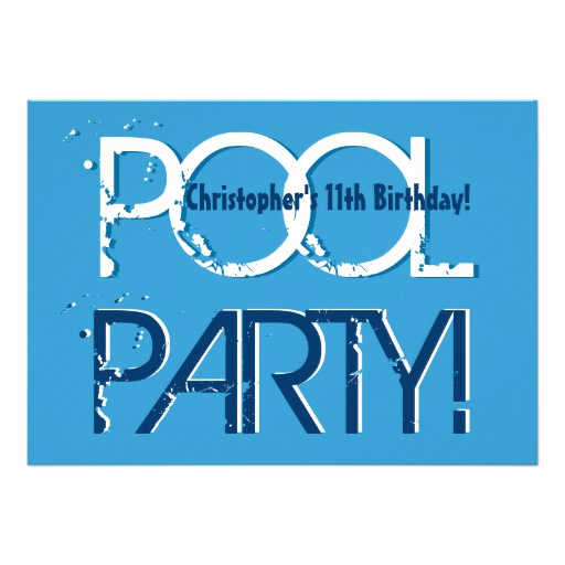 11th Birthday Invitation Wording Beautiful Kid S 11th Birthday Pool Party Blue White Template 5x7