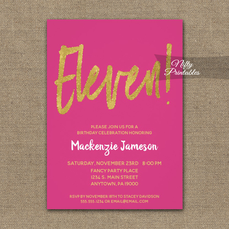 11th Birthday Invitation Wording Elegant 11th Birthday Invitation Hot Pink Gold Script Printed