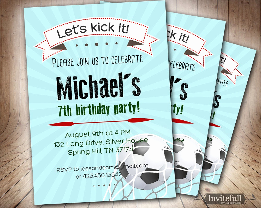 11th Birthday Invitation Wording Elegant soccer Birthday Invitation for Boys6th 9th 8th 11th Boy