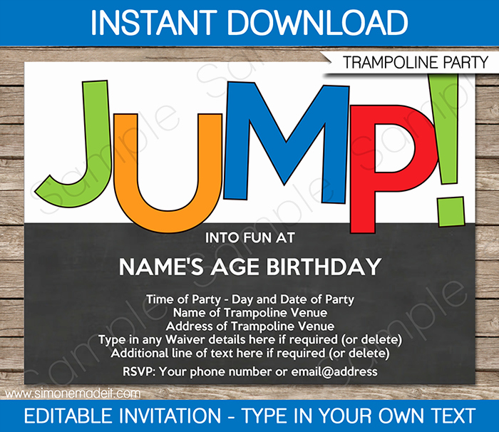 11th Birthday Invitation Wording Fresh Trampoline Party Invitations Template – Boys
