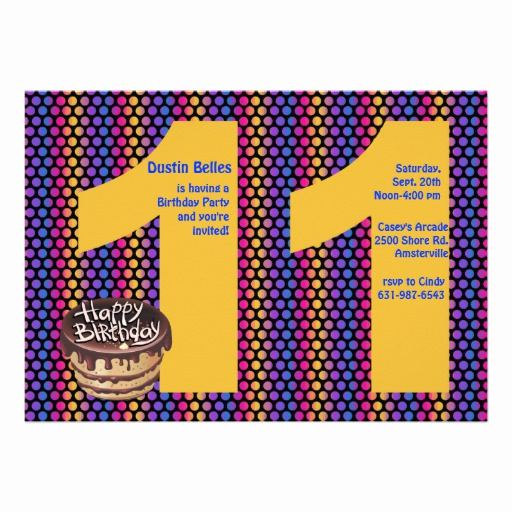 "11th Birthday Invitation Wording Inspirational Big 11 Birthday Party Invitation 5"" X 7"" Invitation Card"