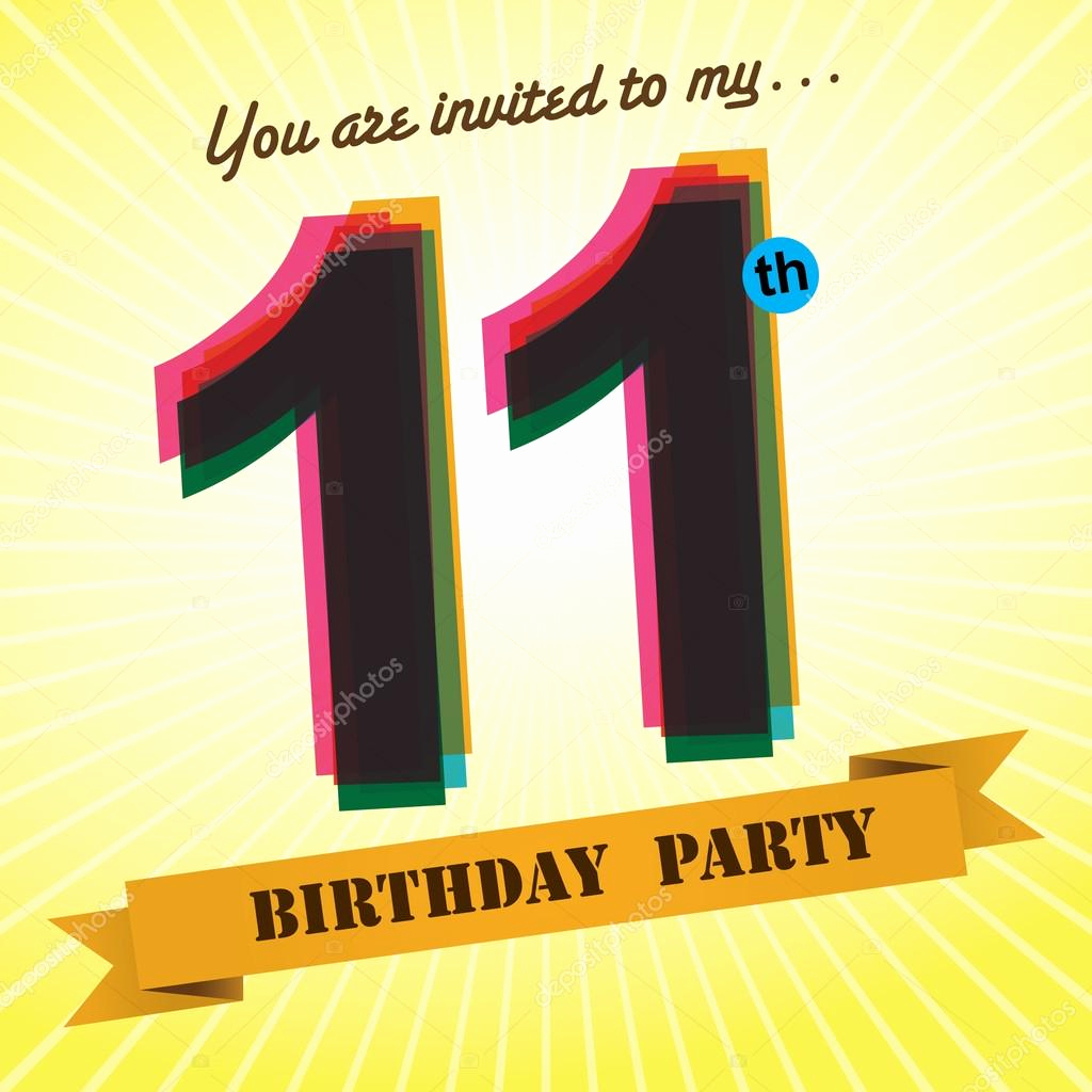 11th Birthday Invitation Wording Lovely 11th Birthday Party Invite — Stock Vector © Harshmunjal