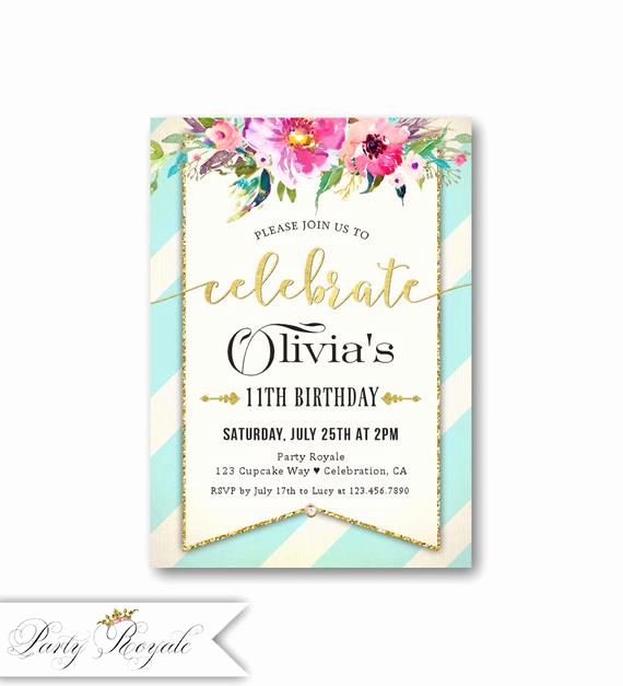 11th Birthday Invitation Wording Lovely Girl S 11th Birthday Invitations Kids Birthday Party