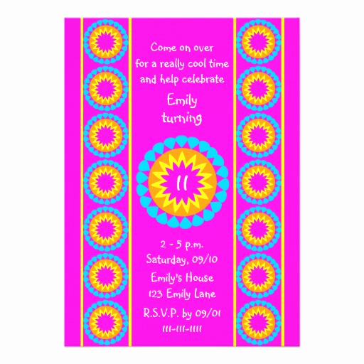 "11th Birthday Invitation Wording Luxury 11th Birthday Party Invitation Cool Hot Pink 5"" X 7"