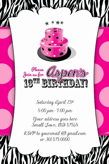13th Birthday Invitation Ideas Beautiful Zebra Print Cake Invitation 13th Birthday Party Baby