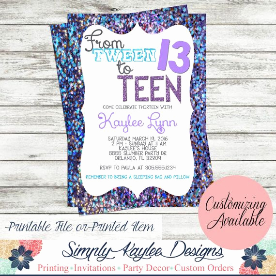 13th Birthday Invitation Ideas Best Of Tween to Teen Birthday Party Invitation by