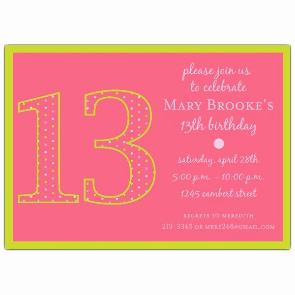 13th Birthday Invitation Ideas Fresh 13th Birthday Girl Dots Invitations