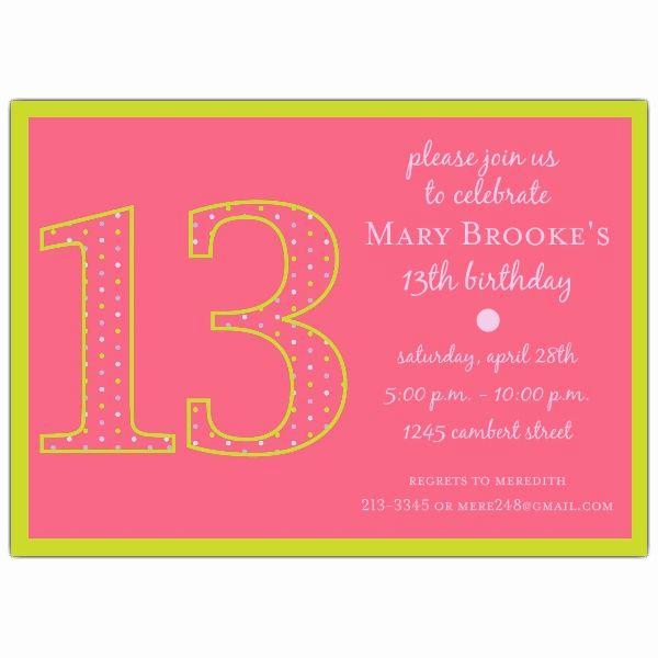 13th Birthday Invitation Ideas Fresh 13th Birthday Girl Dots Invitations