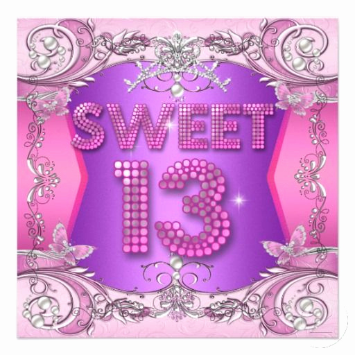 13th Birthday Invitation Ideas Fresh Sweet 13 13th Birthday Party Pink Purple Invitation