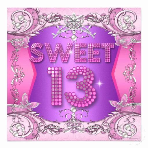 13th Birthday Invitation Ideas Fresh Sweet 13 13th Birthday Party Pink Purple Invitation