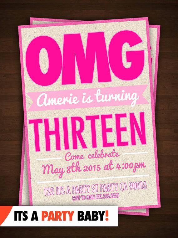 13th Birthday Invitation Ideas Inspirational 13th Birthday Party Invitation Thirteenth Birthday Bash
