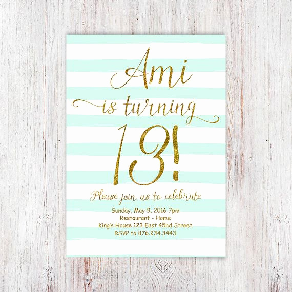 13th Birthday Invitation Ideas Luxury 13th Birthday Invitations Girl Mint Stripes by