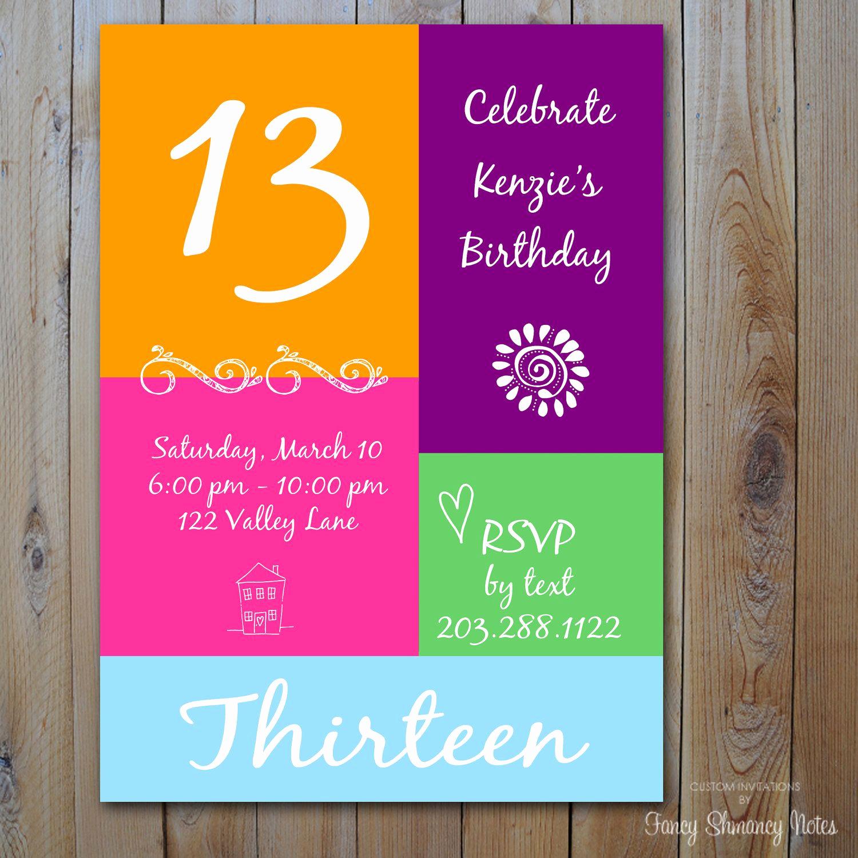 13th Birthday Invitation Ideas New 13th Birthday Invitation Girl S Birthday by