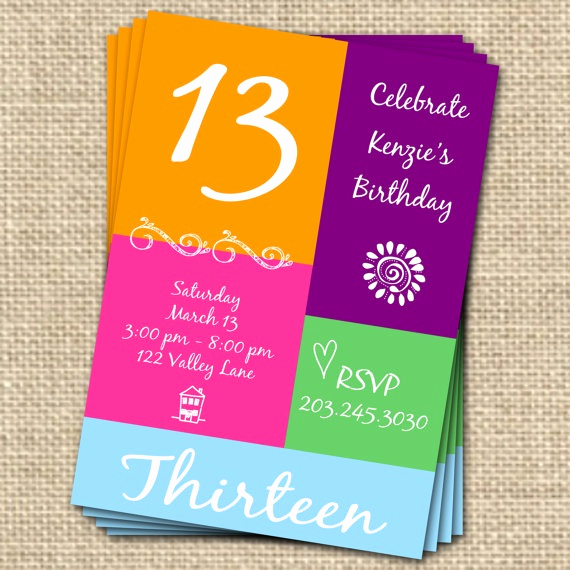 13th Birthday Invitation Wording Beautiful 13th Birthday Invitation Digital File Sweet by