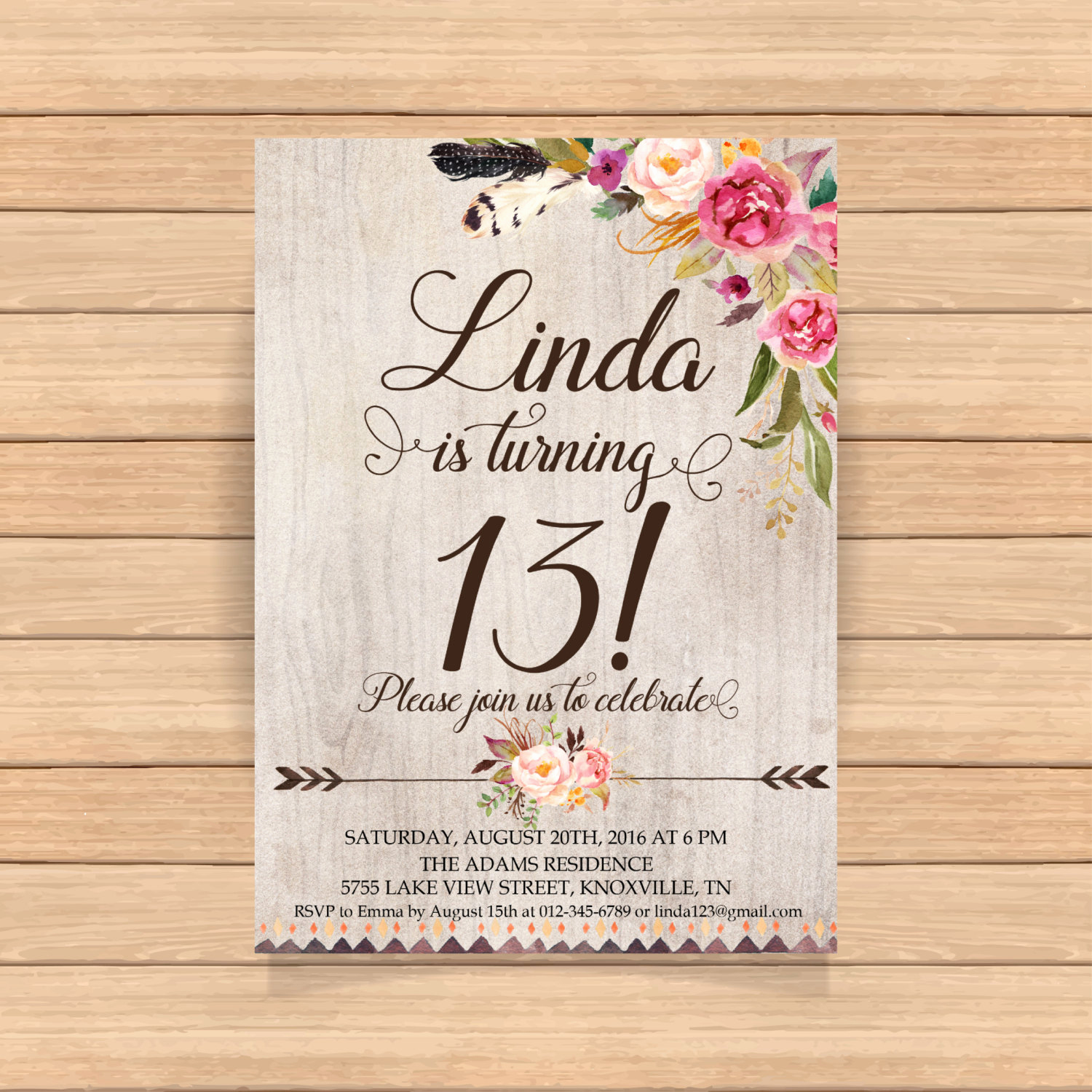 13th Birthday Invitation Wording Beautiful 13th Birthday Invitation Thirteenth Birthday Arrows