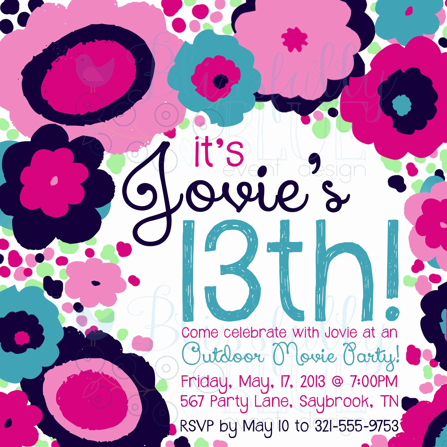 13th Birthday Invitation Wording Inspirational Funky Fresh Floral Invitation 13th Birthday Sweet 16