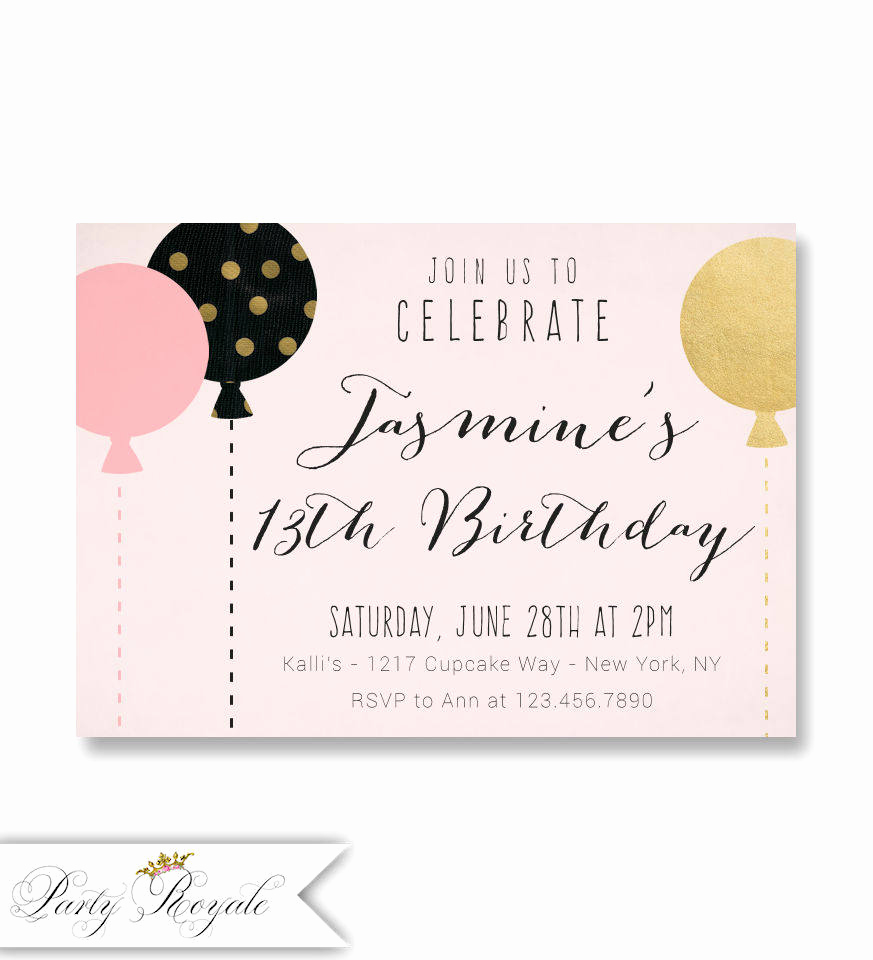 13th Birthday Invitation Wording Inspirational Pink and Gold 13th Birthday Invitations for Teenage Girls