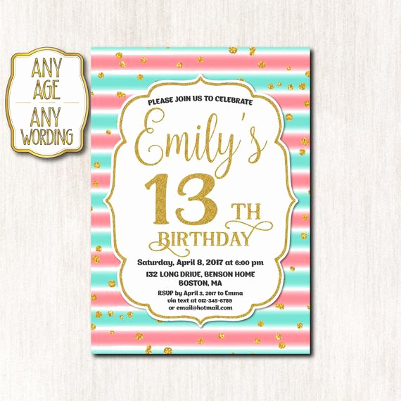 13th Birthday Invitation Wording Luxury 13th Birthday Invitation Thirteenth Birthday Gold Glitter