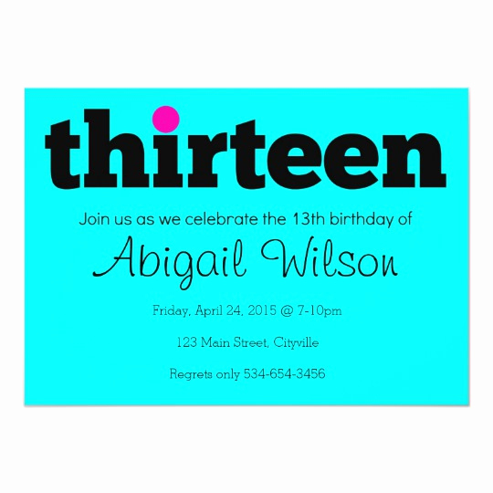 13th Birthday Invitation Wording New Thirteen 13th Birthday Party Invitation