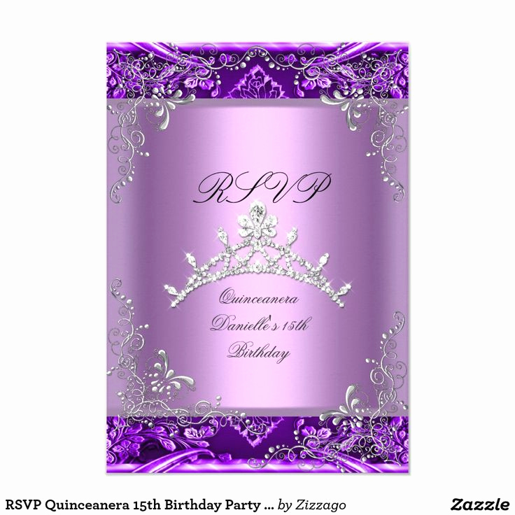 15th Birthday Invitation Wording Beautiful Rsvp Quinceanera 15th Birthday Party Purple Lilac Card