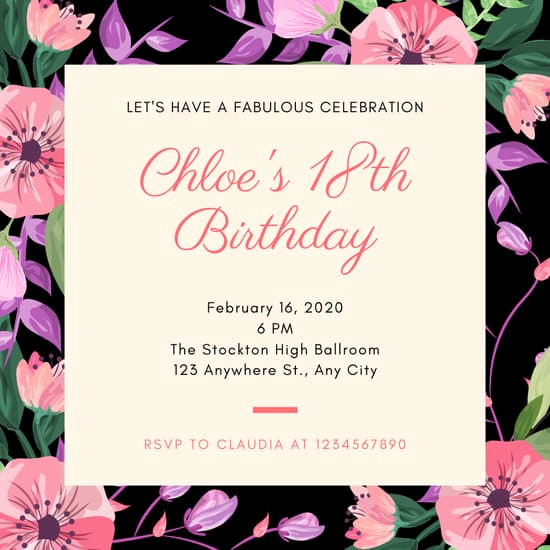 18th Birthday Invitation Ideas Best Of Customize 333 18th Birthday Invitation Templates Online