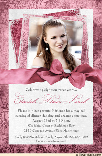18th Birthday Invitation Ideas Elegant Fine 18th Birthday Invitation Pink Rose Photo – Free